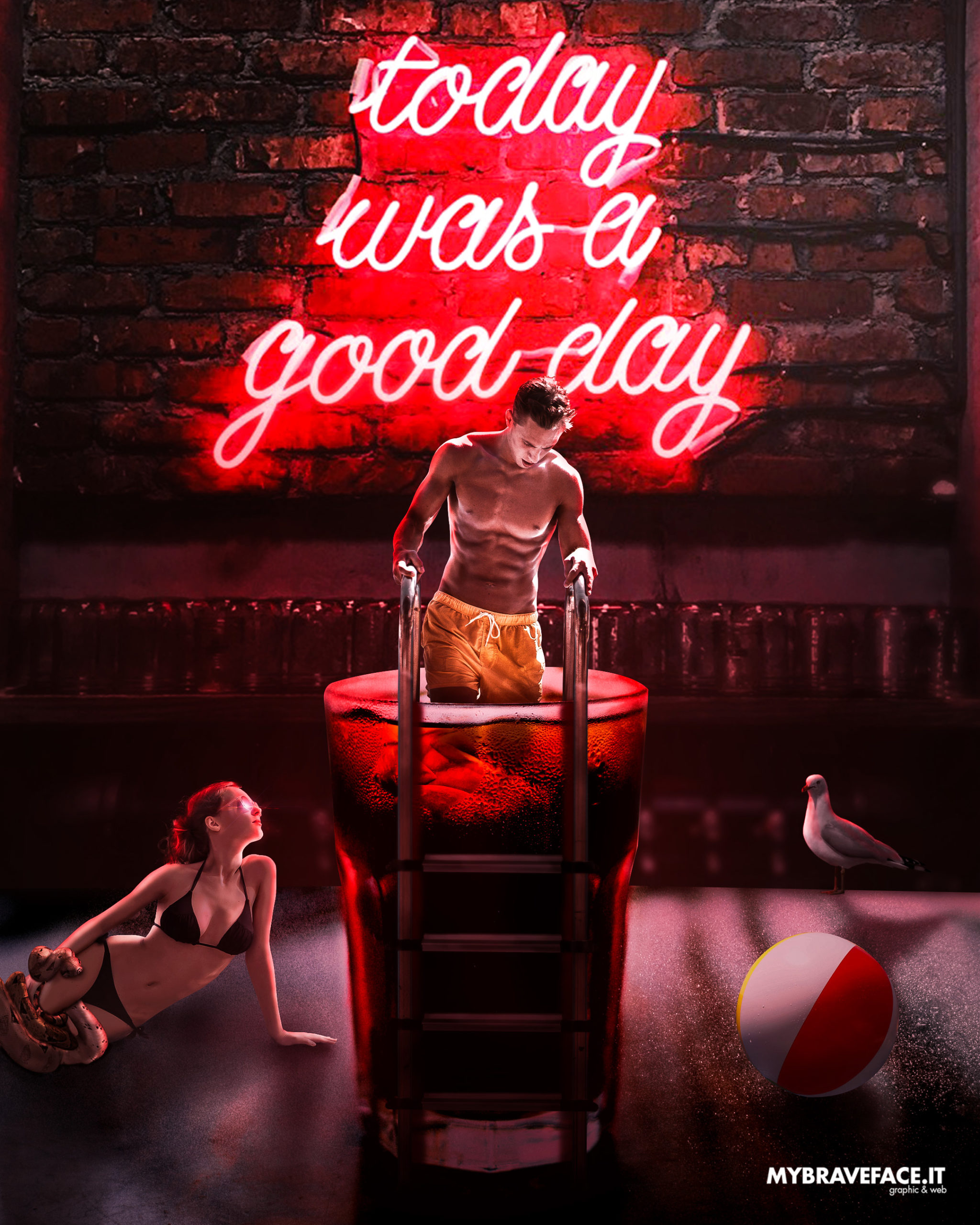 Neon bar - photomanipulation