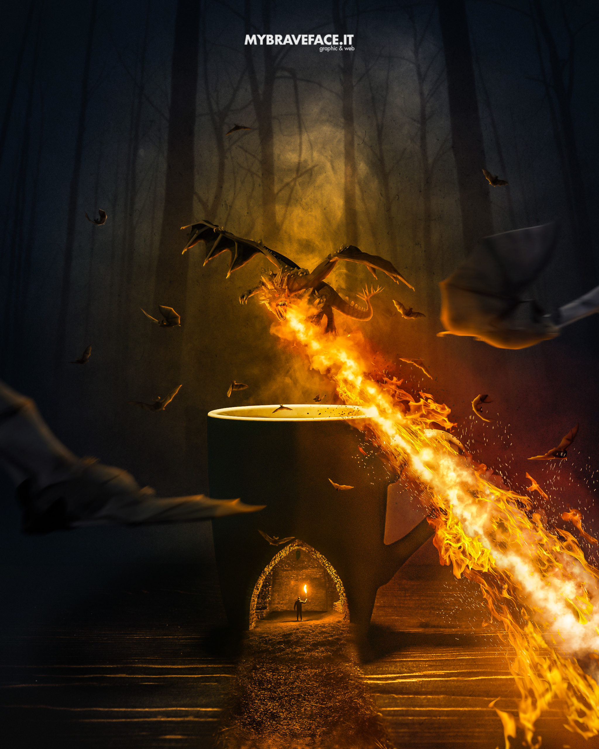 Hot coffee - photomanipulation