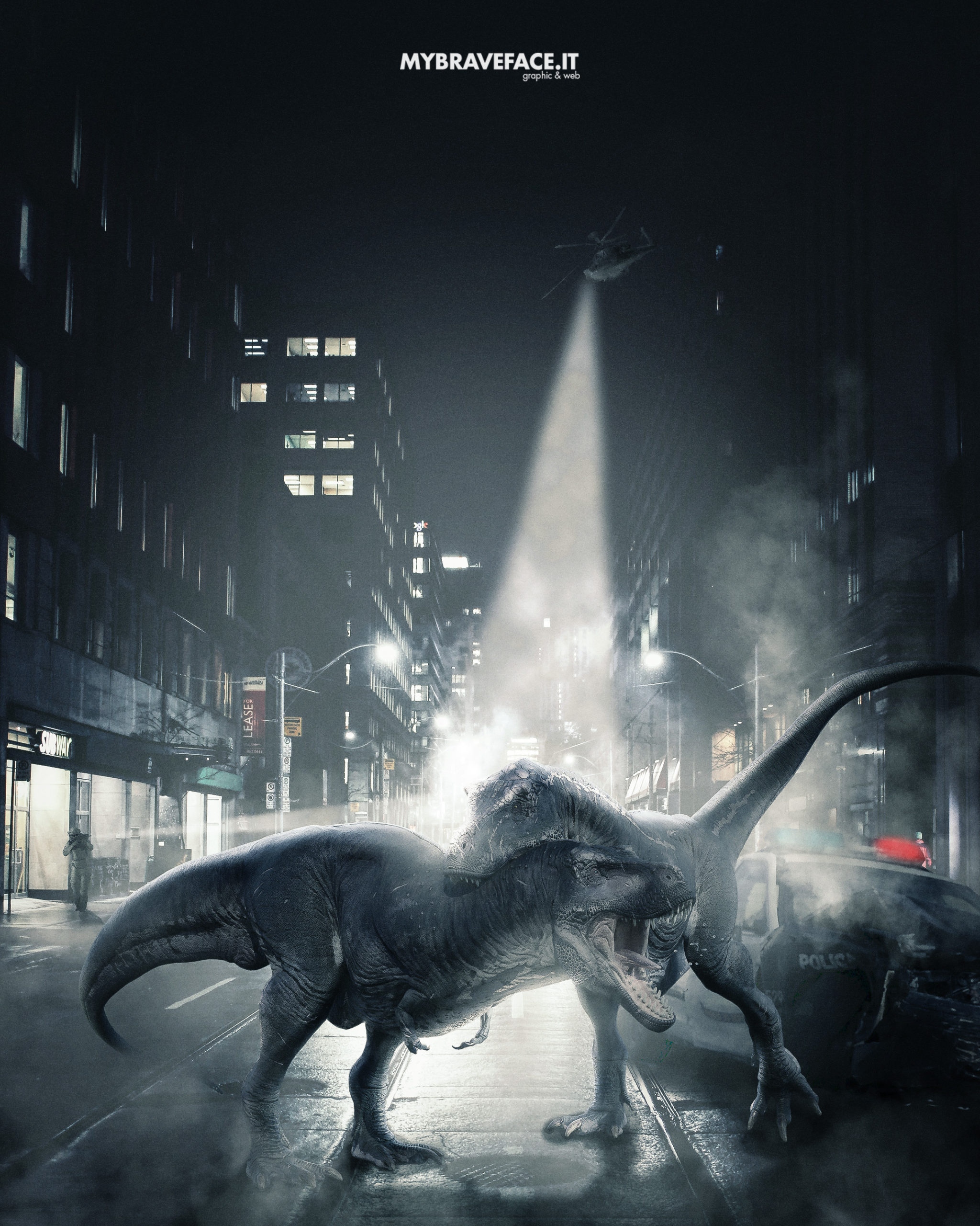 The dinosaur war - Photomanipulation