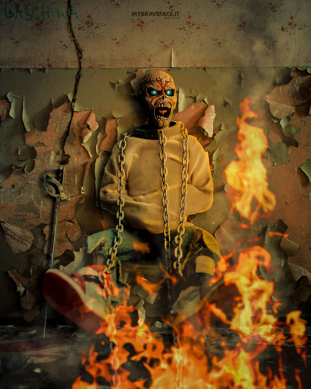 Eddie in cage - Photo Manipulation